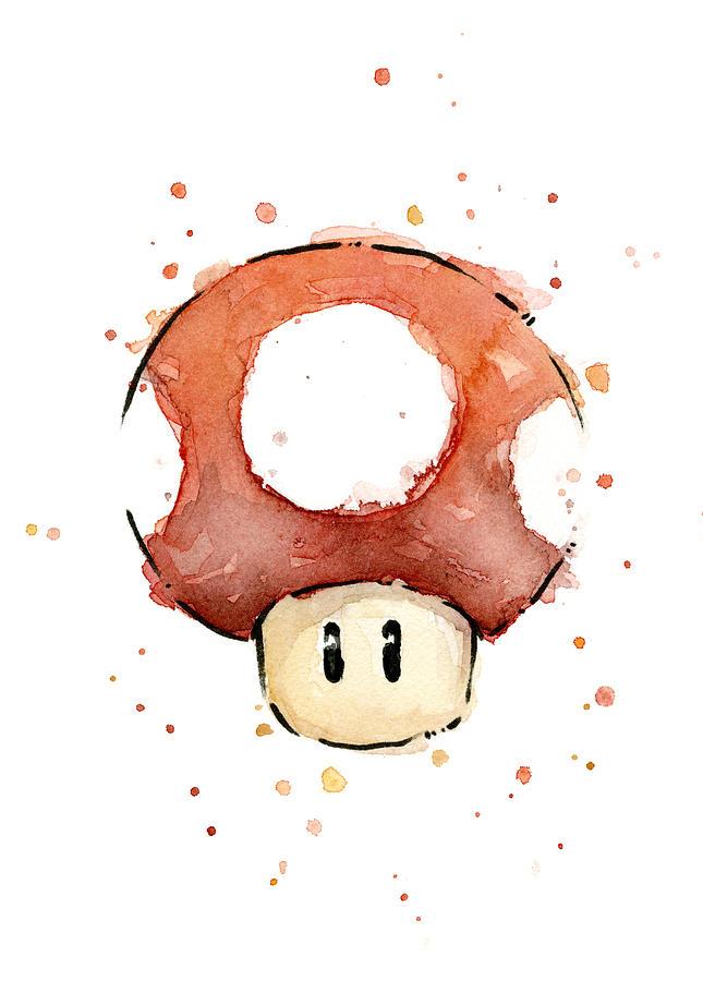 Watercolor Painting - Red Mushroom Watercolor by Olga Shvartsur