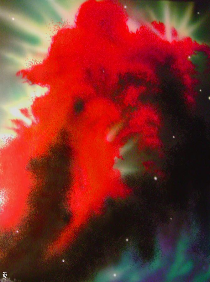 Nebula Painting - Red Nebula Clouds by Tim Odom