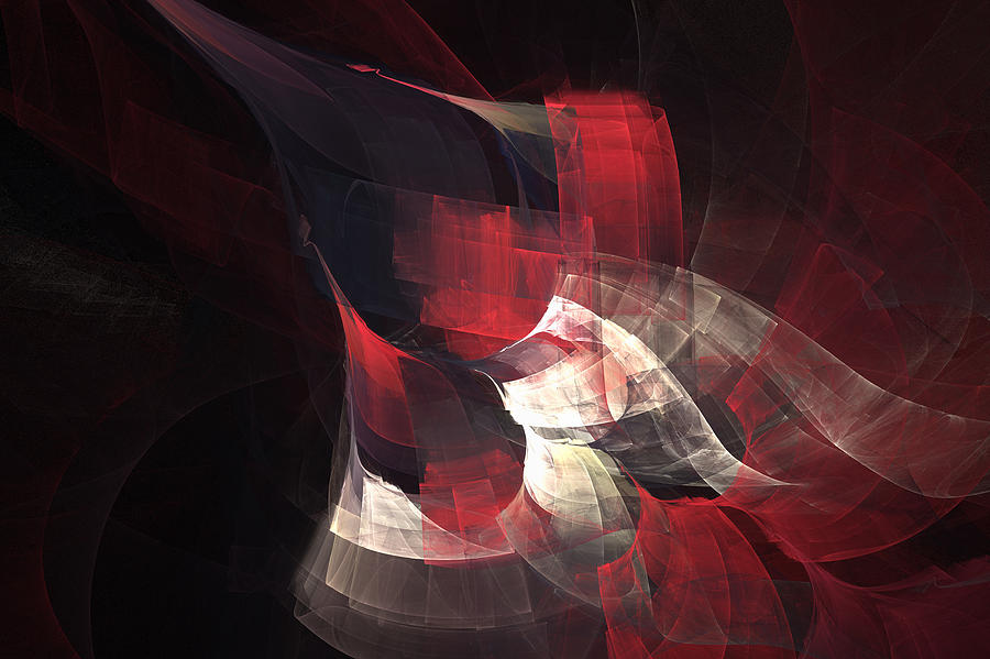 Abstract Digital Art - Red Nebula by Kevin Round