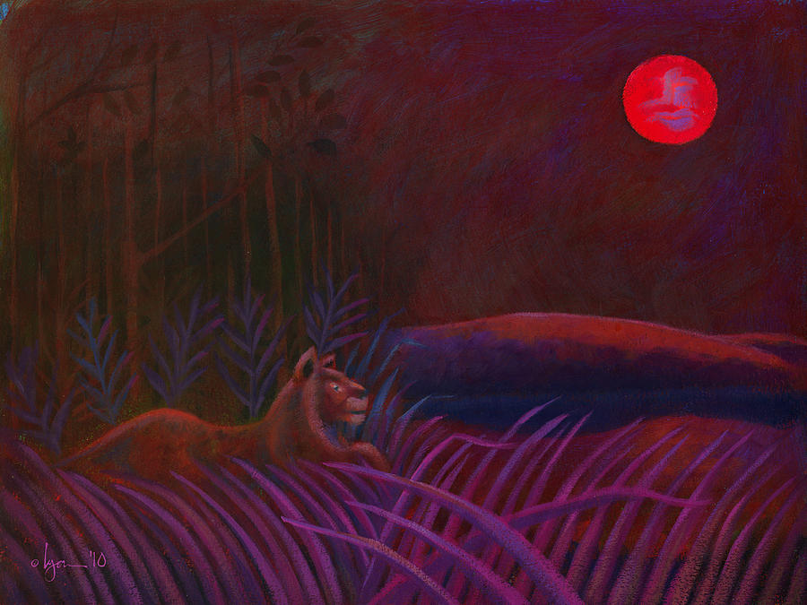Lions Painting - Red Night Painting 48 by Angela Treat Lyon
