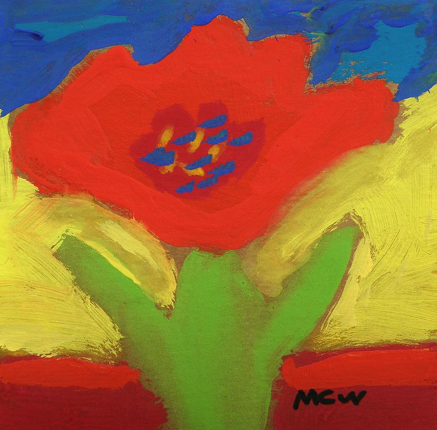 Red Flower Painting - Red Number 1 by Mary Carol Williams