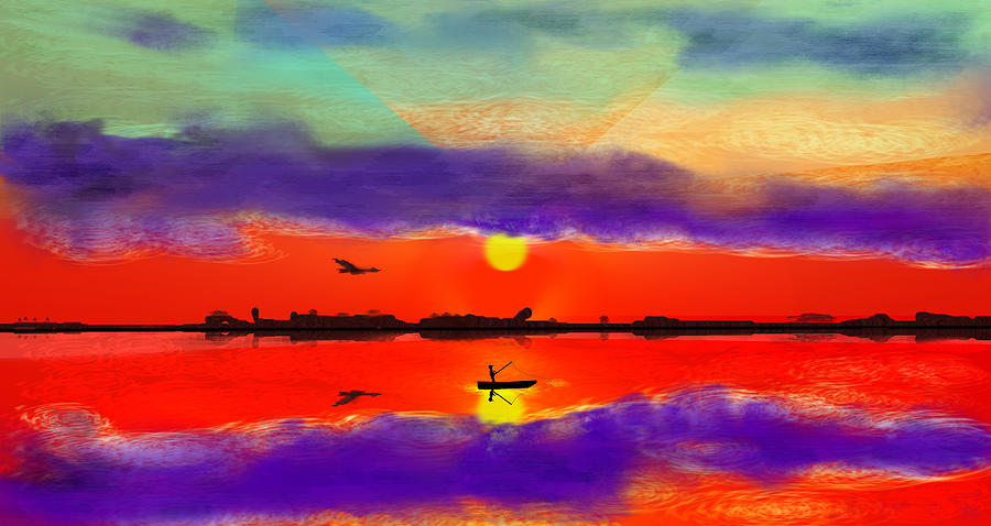 Red Digital Art - Red Ocean Sunset by Kab