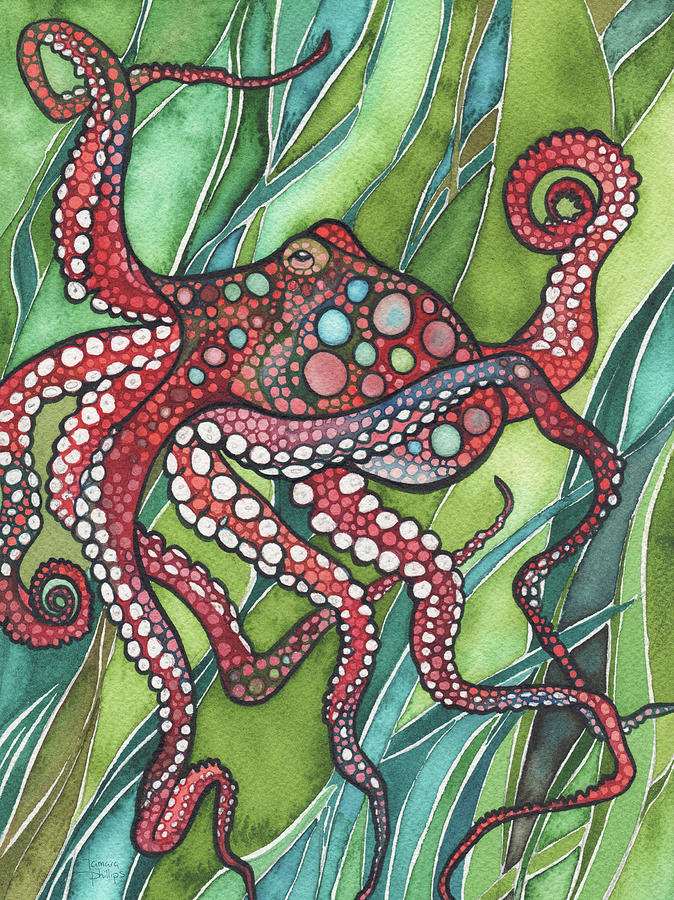 Red Octopus Painting - Red Octo by Tamara Phillips