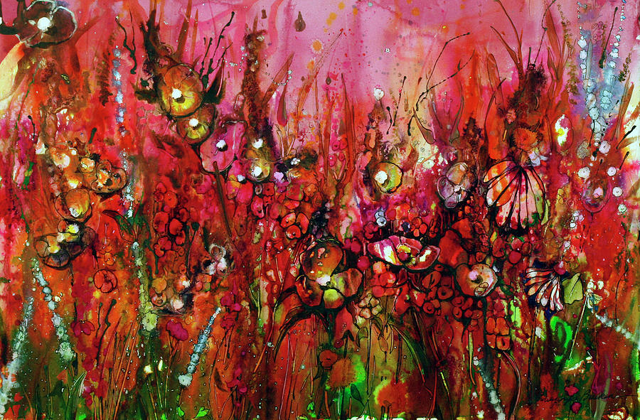 Red Painting - Red October by Shirley Sykes Bracken