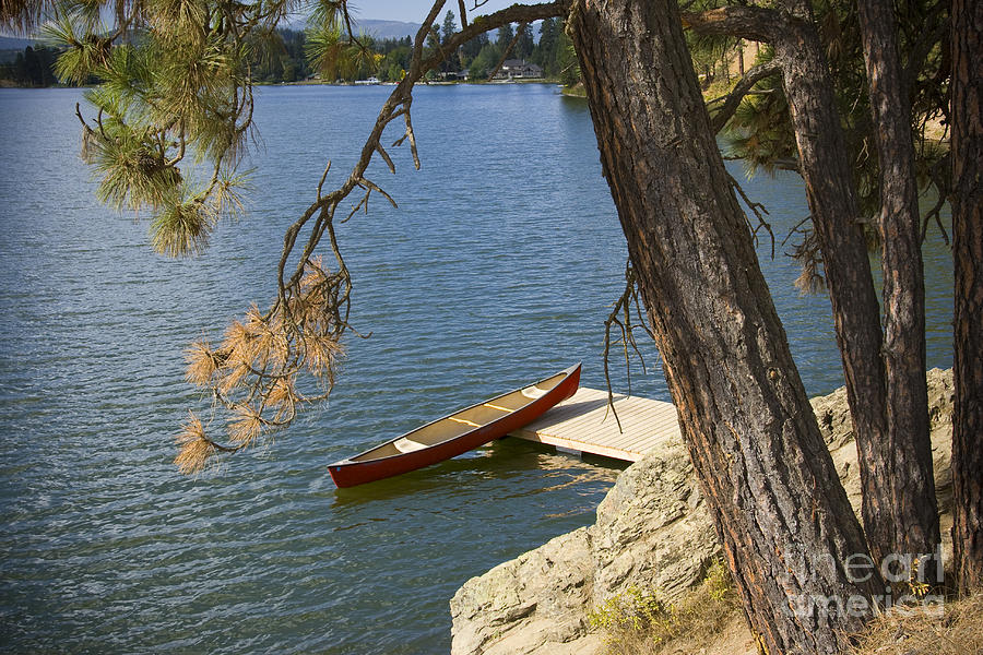 Canoe Photograph - Red On Blue by Idaho Scenic Images Linda Lantzy