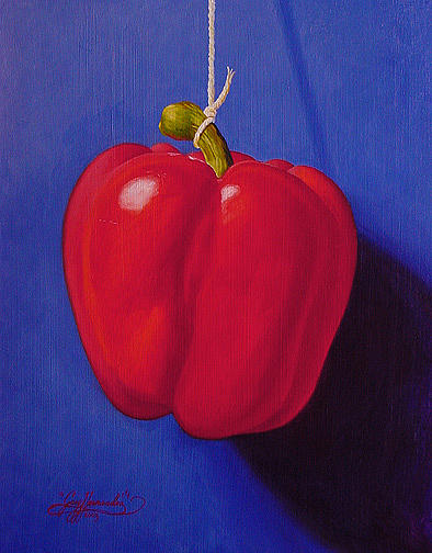 Bell Pepper Painting - Red On Ultramarine Blue by Gary  Hernandez