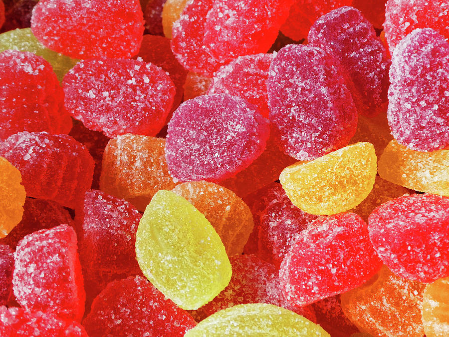 Red, Orange, and Yellow Jelly Candies by Marcia Socolik