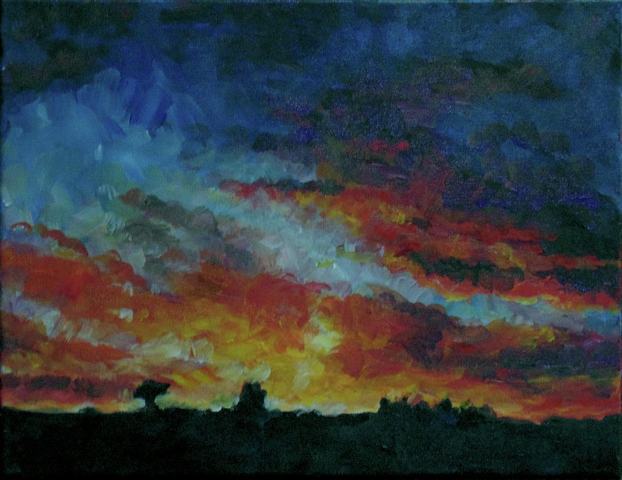 Skyscape Painting - Red Orange Evening by Susan Moore