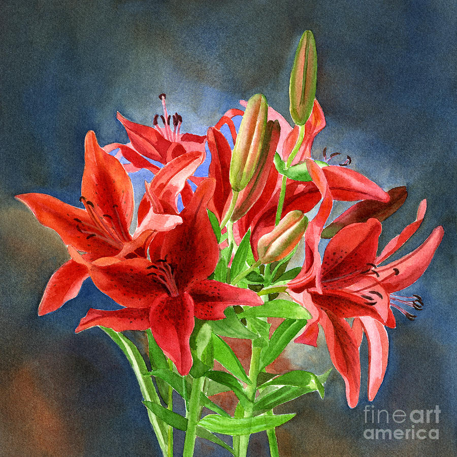 Red Orange Lilies With Dark Background Painting By Sharon