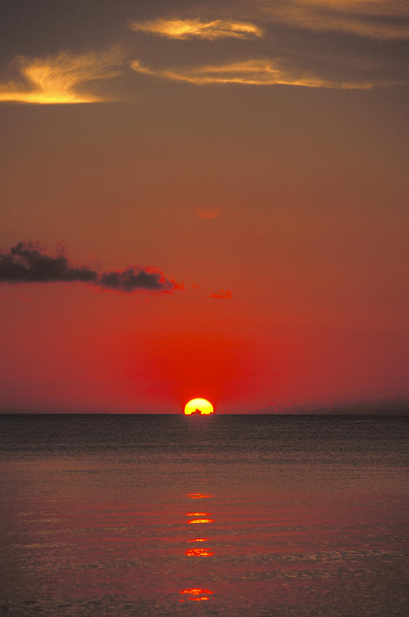 Calm Photograph - Red Orange Sunset On Horizon by James Forte