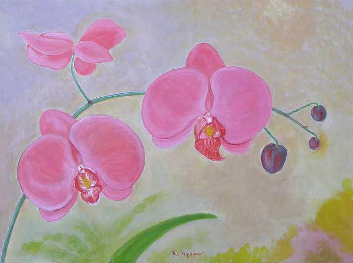 Orchids Painting - Red Orchids by Thi Nguyen
