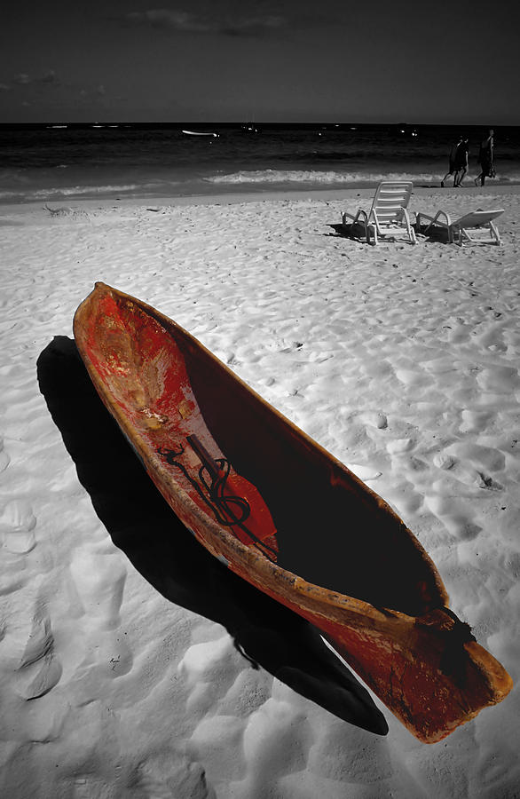 Landscapes Photograph - Red Paddle Boat Playa Del Carmen by Tom Fant
