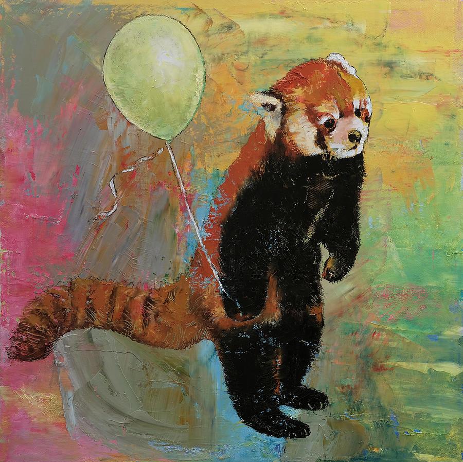 Fun Painting - Red Panda Balloon by Michael Creese