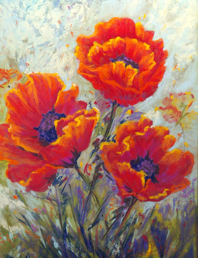 Red Poppies Pastel - Red Passion by Bente Hansen