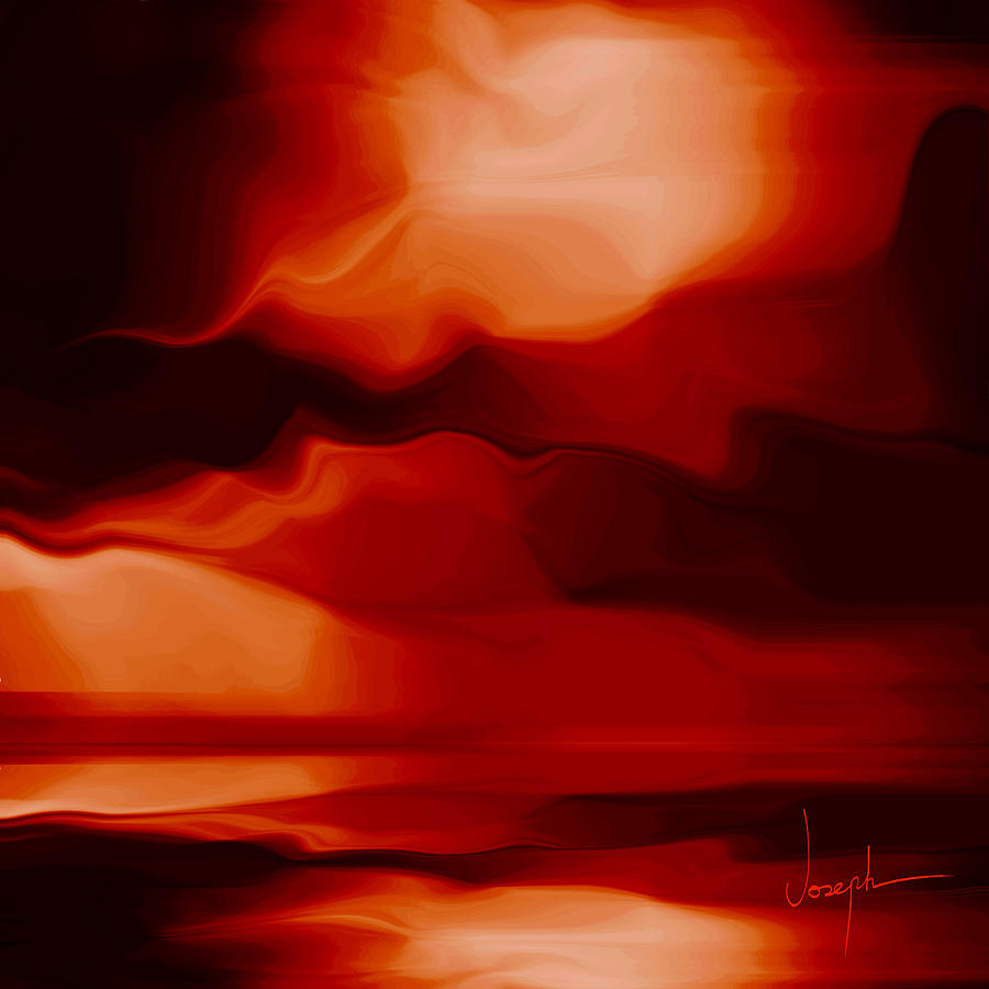 Abstract Digital Art - Red Passion by Joseph Tamassy