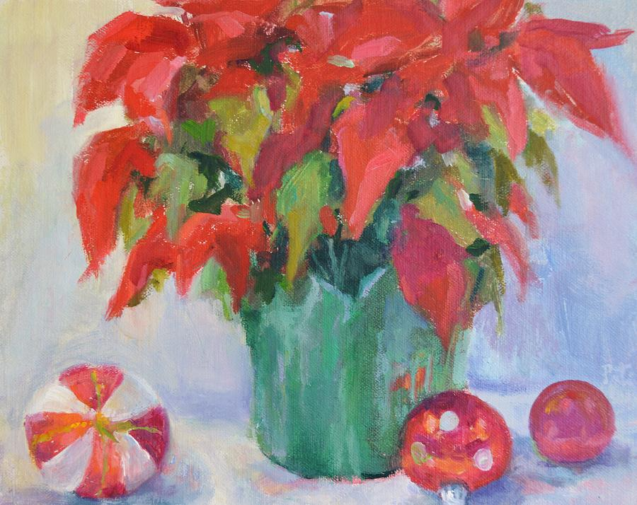 Christmas Scene Painting - Red by Patricia Maguire