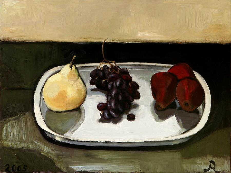 Red Pears Painting by Raimonda Jatkeviciute-Kasparaviciene