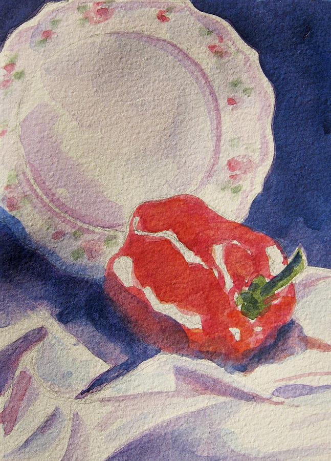 Pepper Painting - Red Pepper by Marsha Elliott