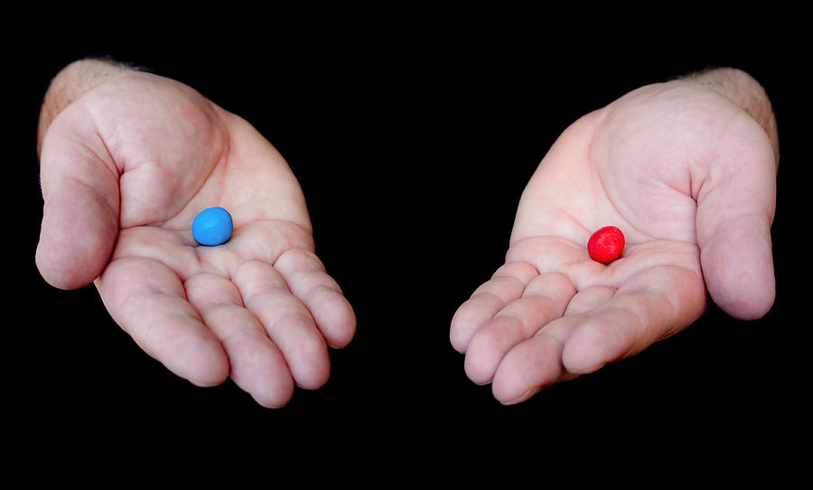 Black Photograph - Red Pill Blue Pill by Semmick Photo