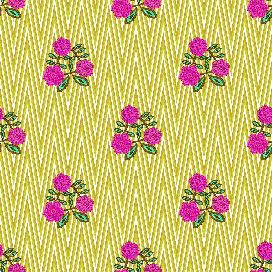 Red pink flowers on yellow background by Lenka Rottova