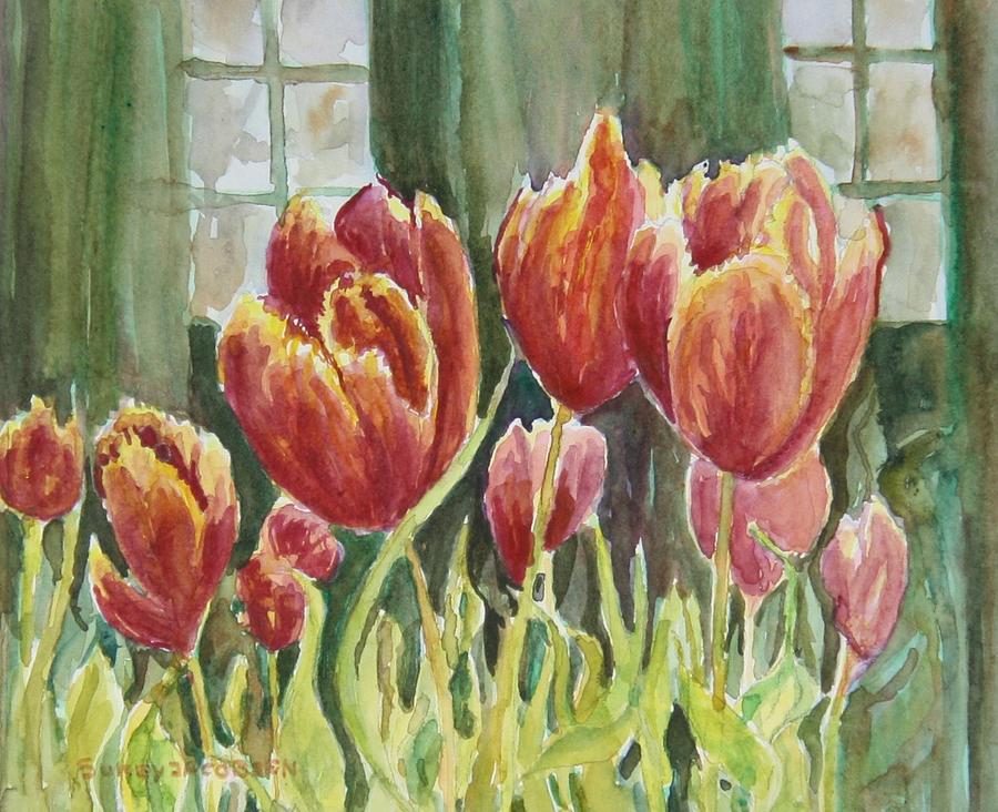 Tulips Painting - Red Pink Tulips by Sukey Watson