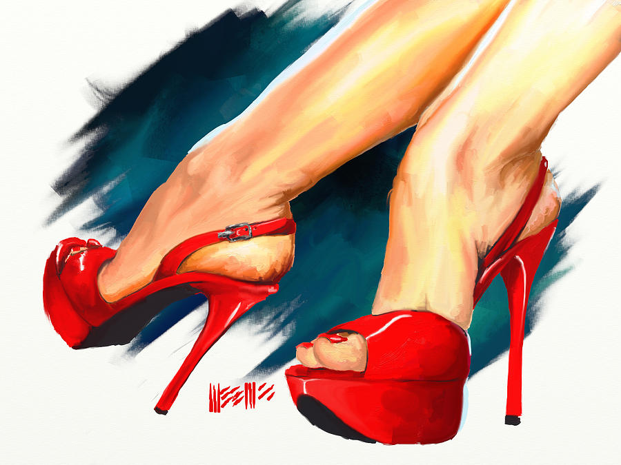 High Heels Painting - Red Platforms by Dillan Weems