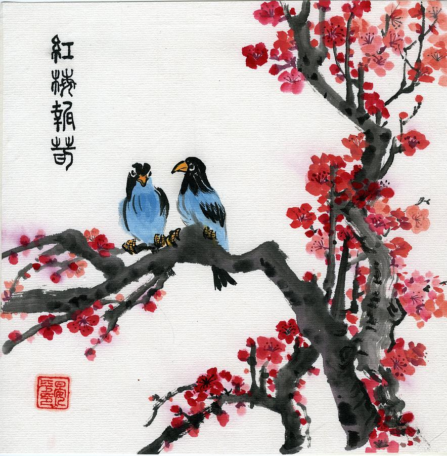 Red Plum and blue birds by Ping Yan