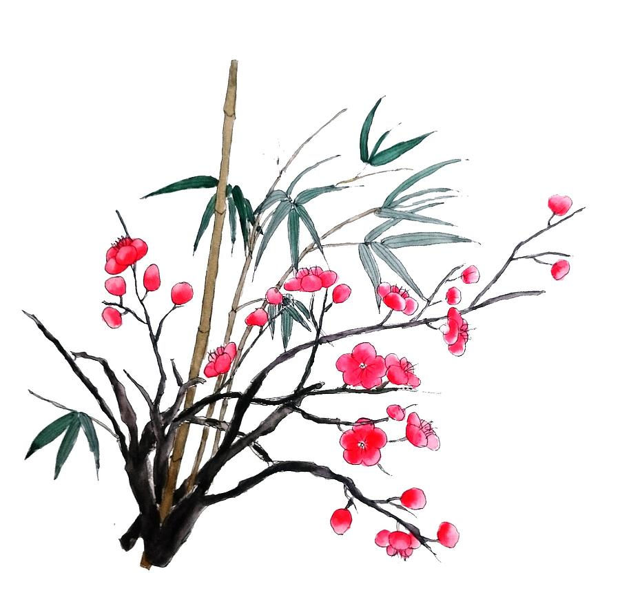red plum flower and bamboo painting by color color
