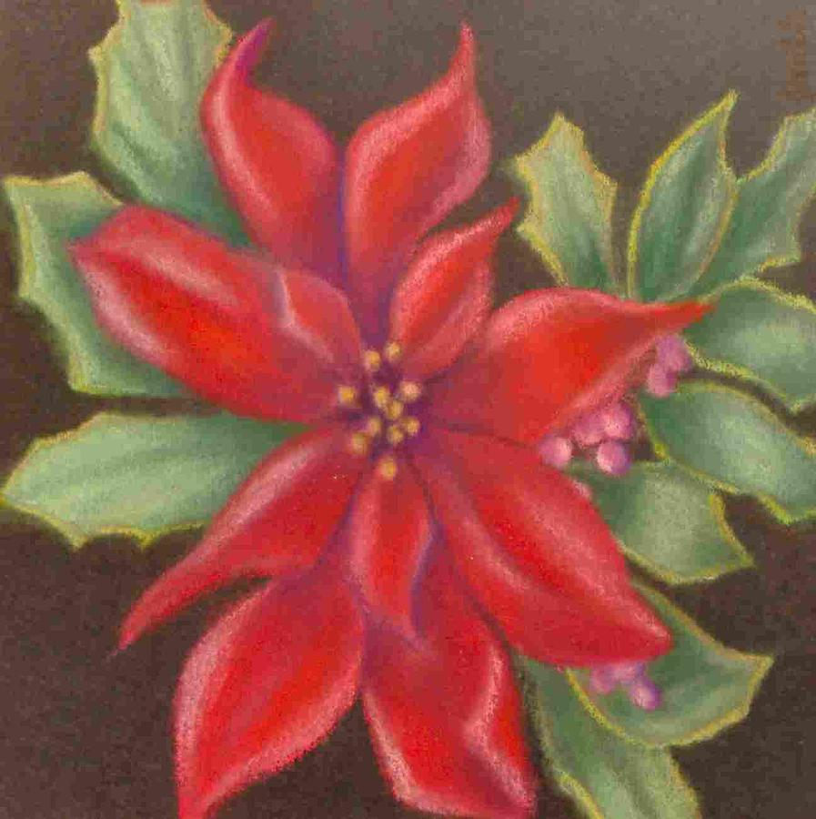 Poinsettia Painting - Red Poinsettia by Joan Garverick
