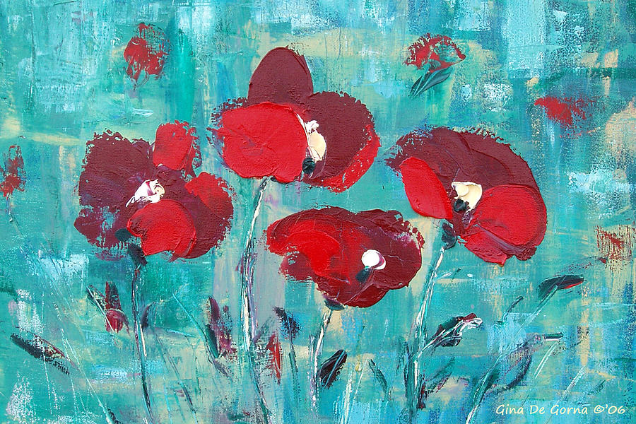 Red Painting - Red Poppies 2 by Gina De Gorna