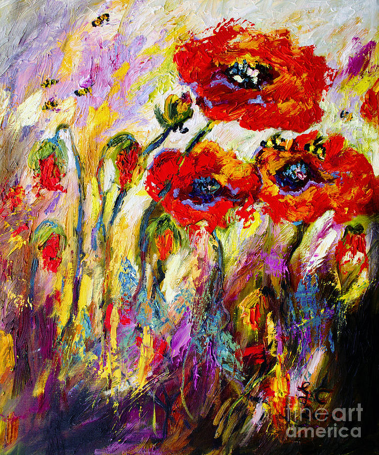 Red Poppies and Bees Provence Dreams Painting by Ginette Callaway