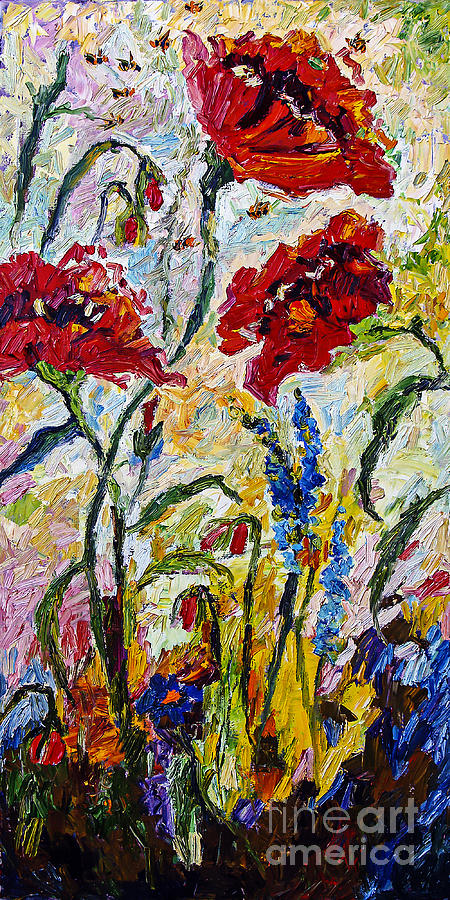 Red Poppies and Bees Provence by Ginette Callaway