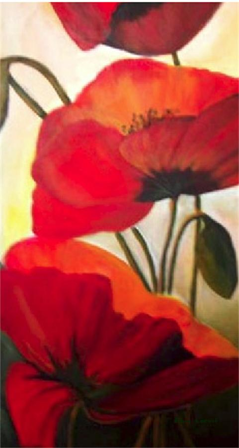 Floral Painting - Red Poppies by Eileen Kasprick