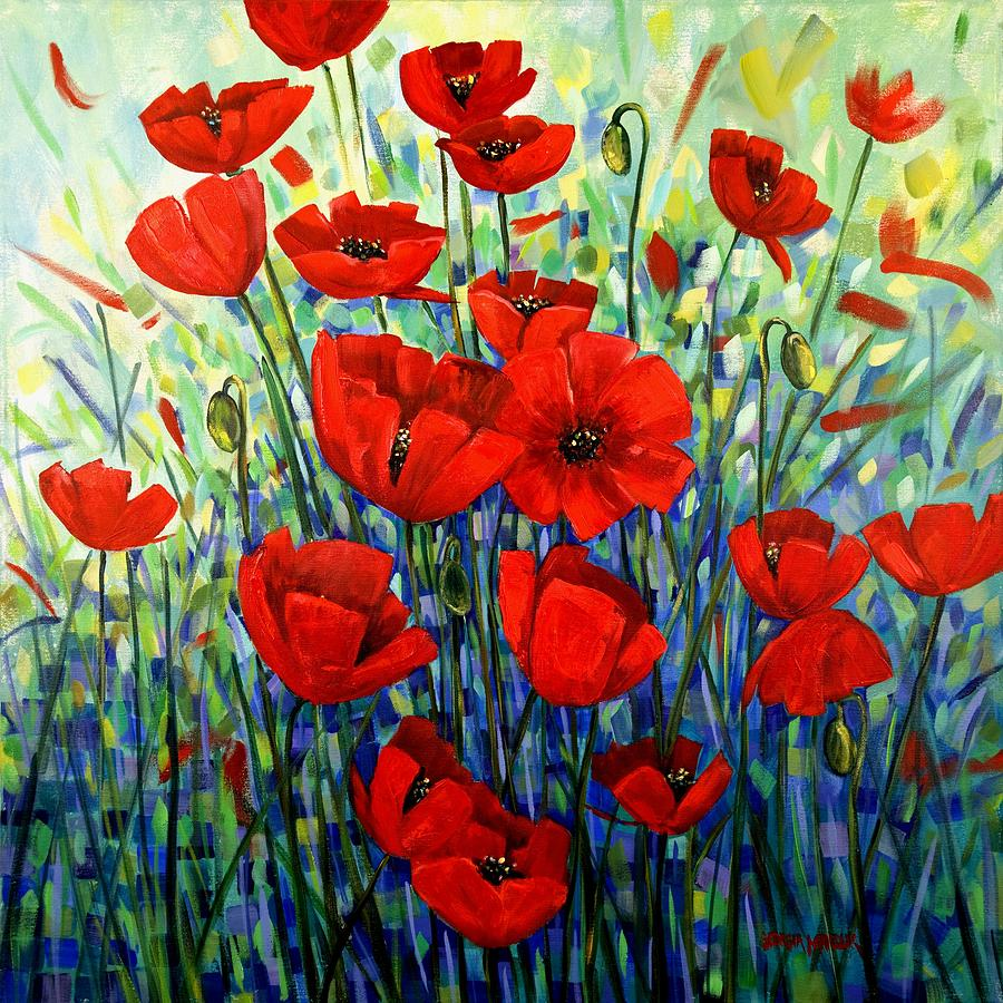Floral Painting - Red Poppies by Georgia  Mansur
