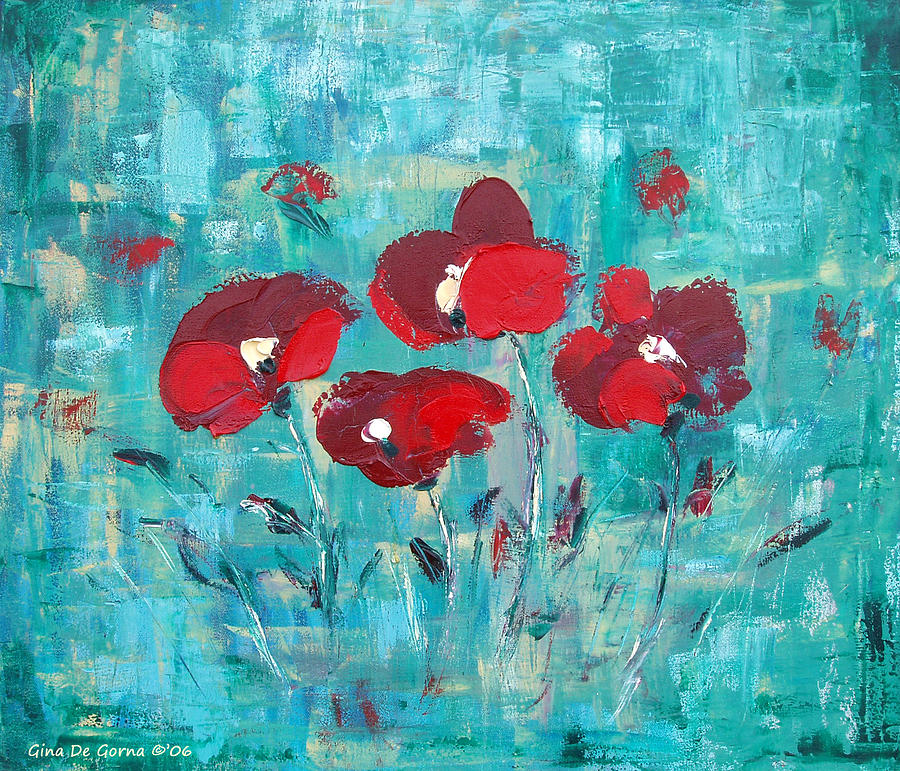 Red Painting - Red Poppies by Gina De Gorna