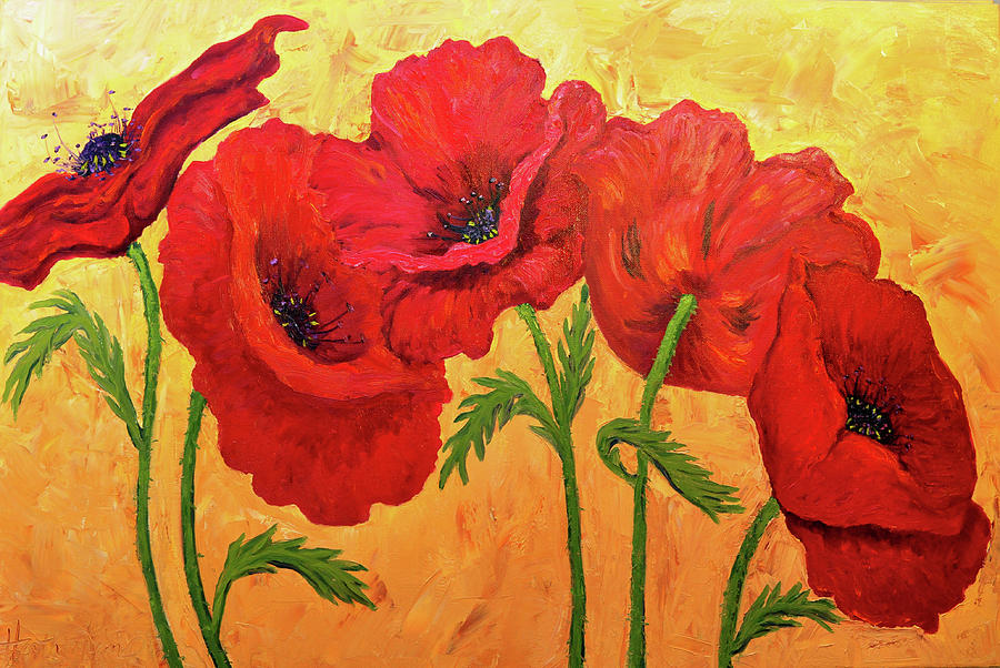 Red Painting - Red Poppies by Heather Kemp