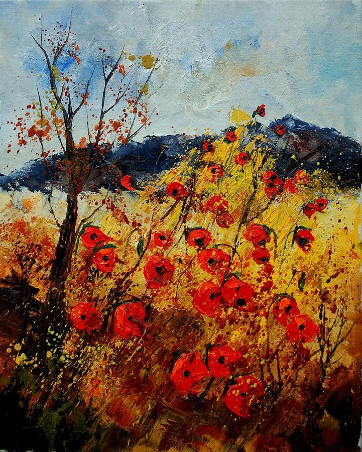 Poppies Painting - Red Poppies In Provence  by Pol Ledent