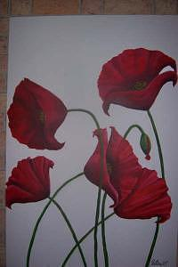 Red Poppies Painting by Jennifer Watier
