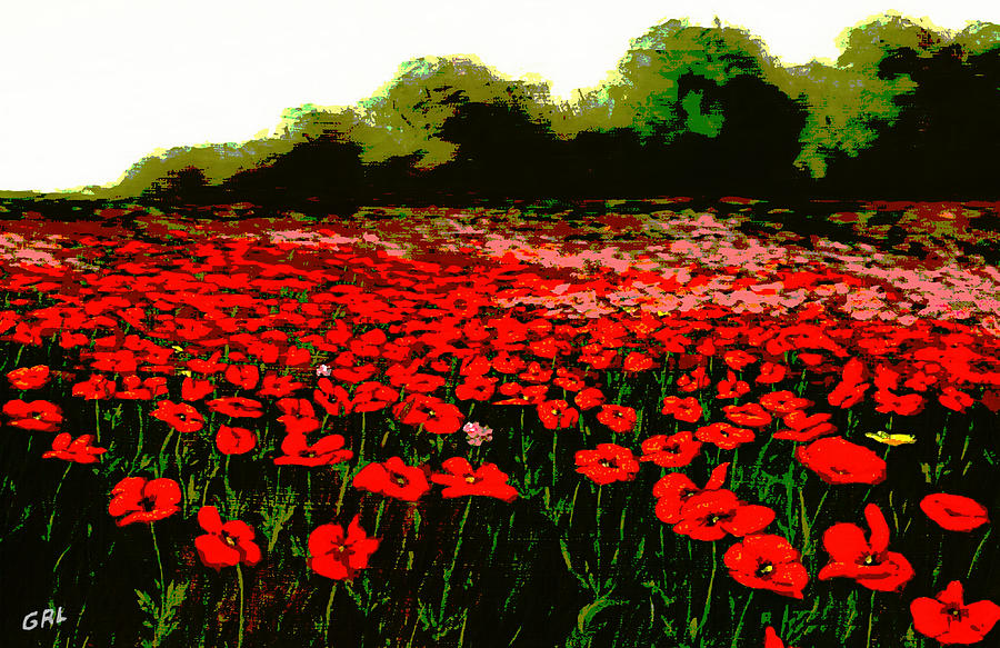 Original Painting - Red Poppies Landscapes Flowers Emerald Isle Multimedia Fine Art by G Linsenmayer