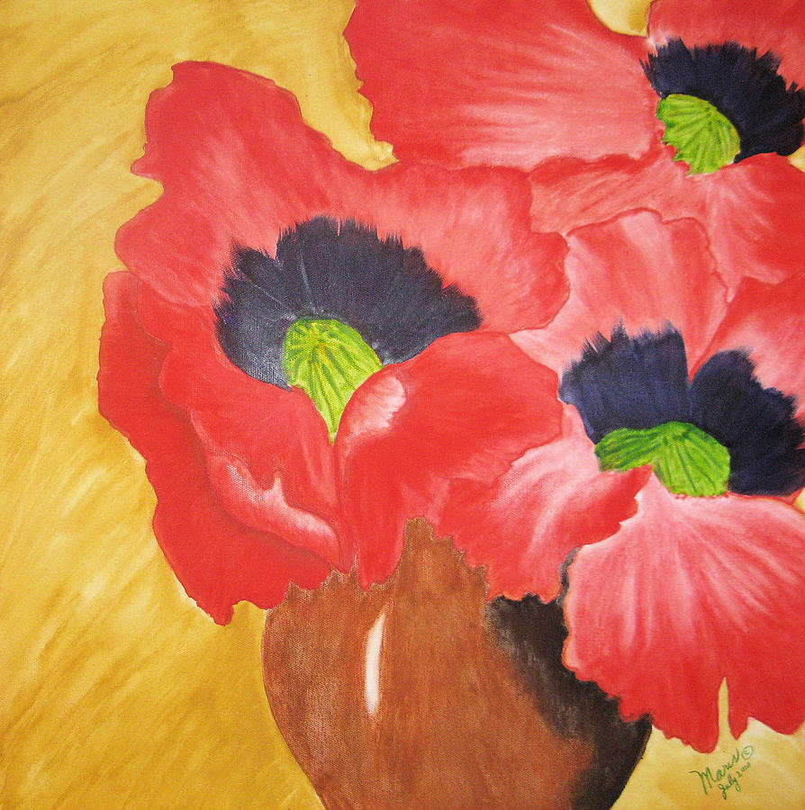 Flowers Painting - Red Poppies by Maris Sherwood