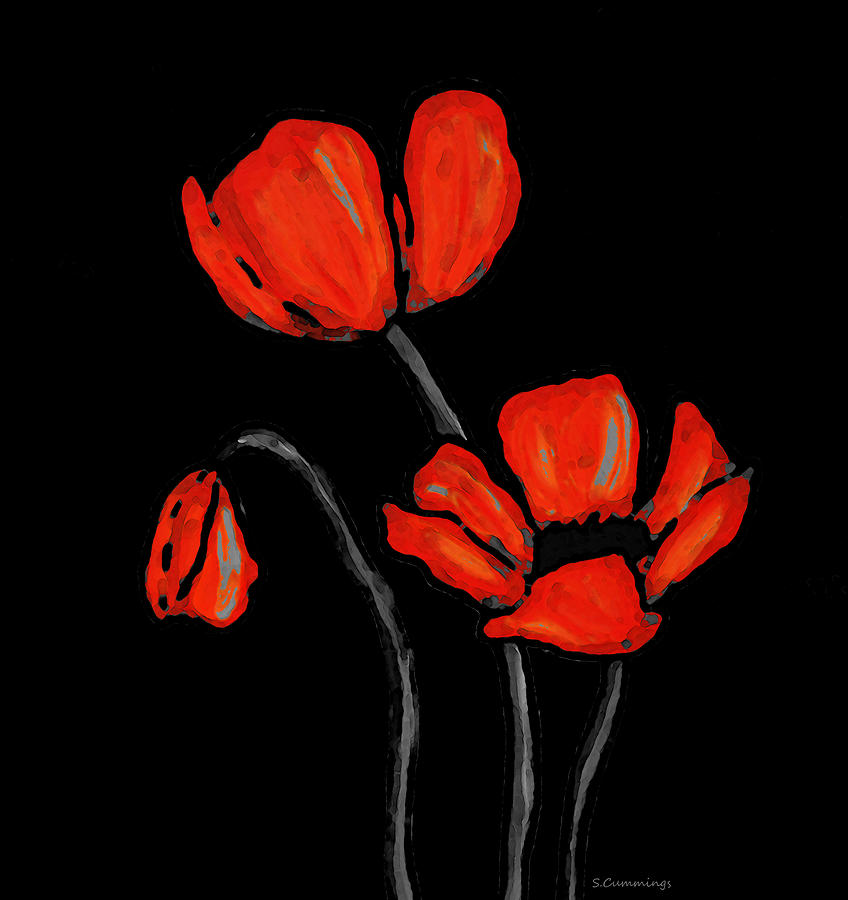 Red Painting - Red Poppies On Black by Sharon Cummings by Sharon Cummings