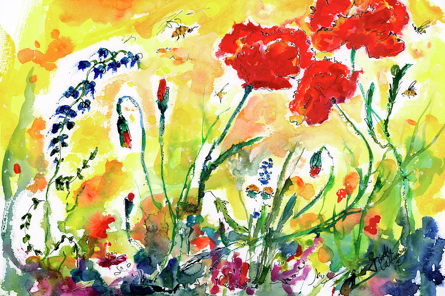 Red Poppies Provence 2017 Painting by Ginette Callaway