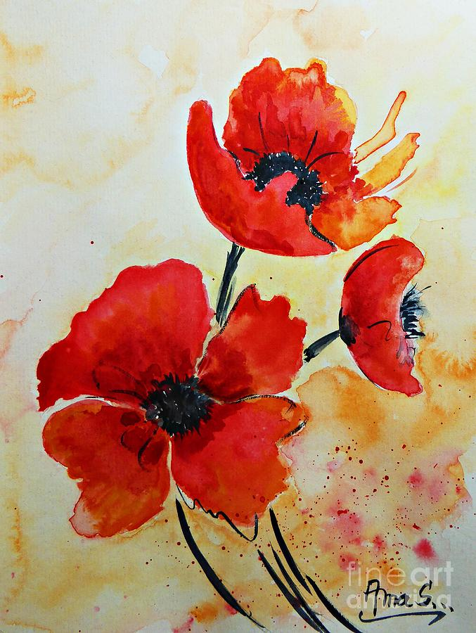 Red Poppies Watercolor Painting By AmaS Art