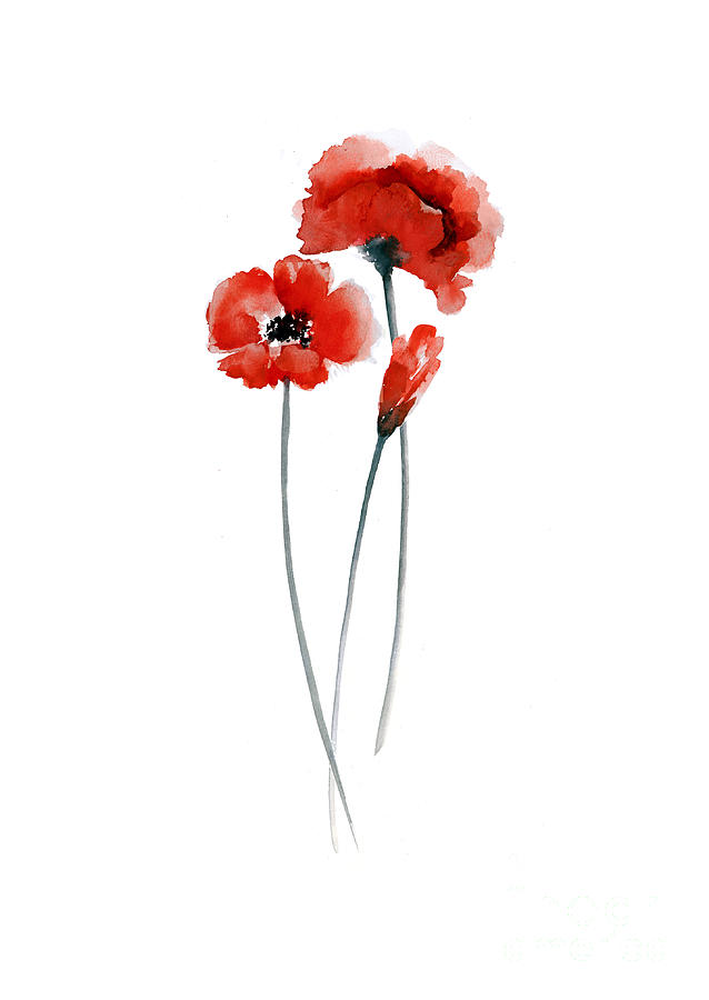 Red Poppies Watercolor Painting Painting By Joanna Szmerdt