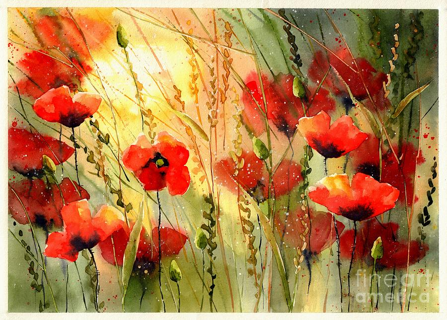 Red Painting - Red Poppies Watercolor by Suzann Sines