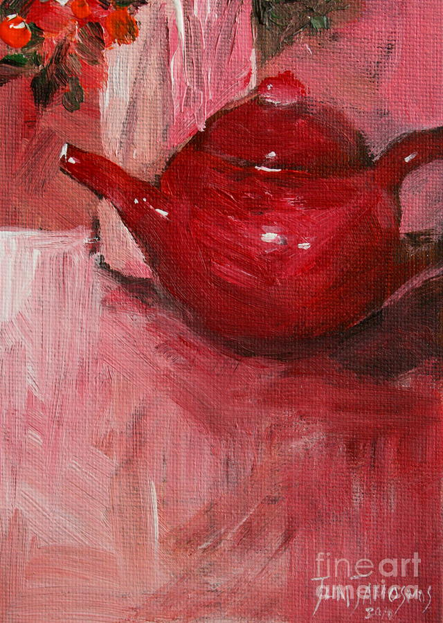 Red Painting - Red Pot by Jun Jamosmos