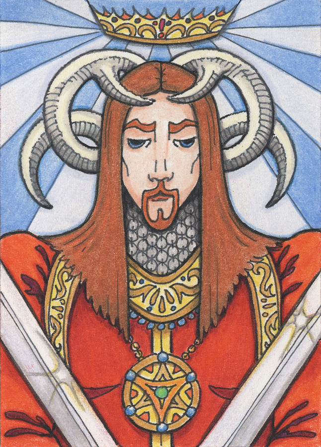 Atc Drawing - Red Prince by Amy S Turner