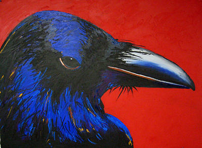 Birds Painting - Red Raven by Brenda Wolf
