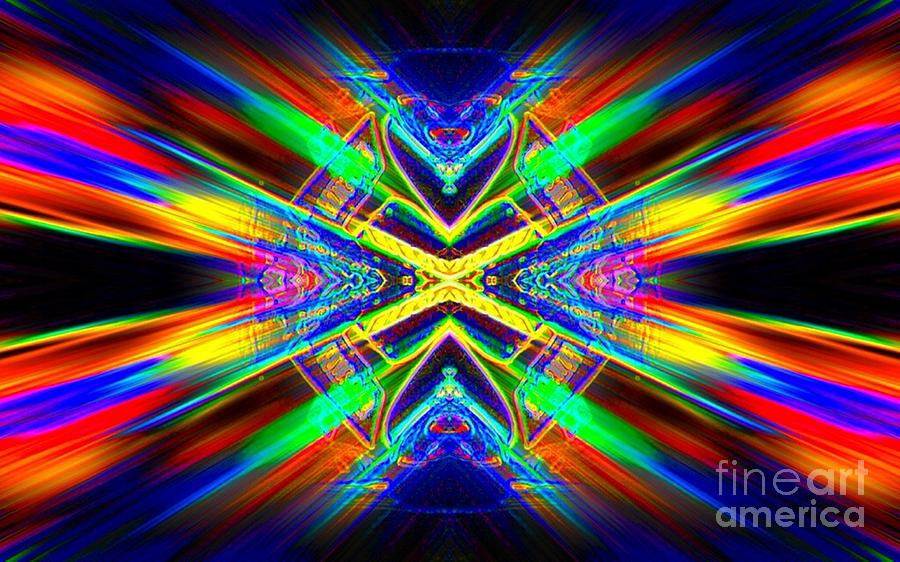 Abstract Digital Art - Red Rays by Lorles Lifestyles