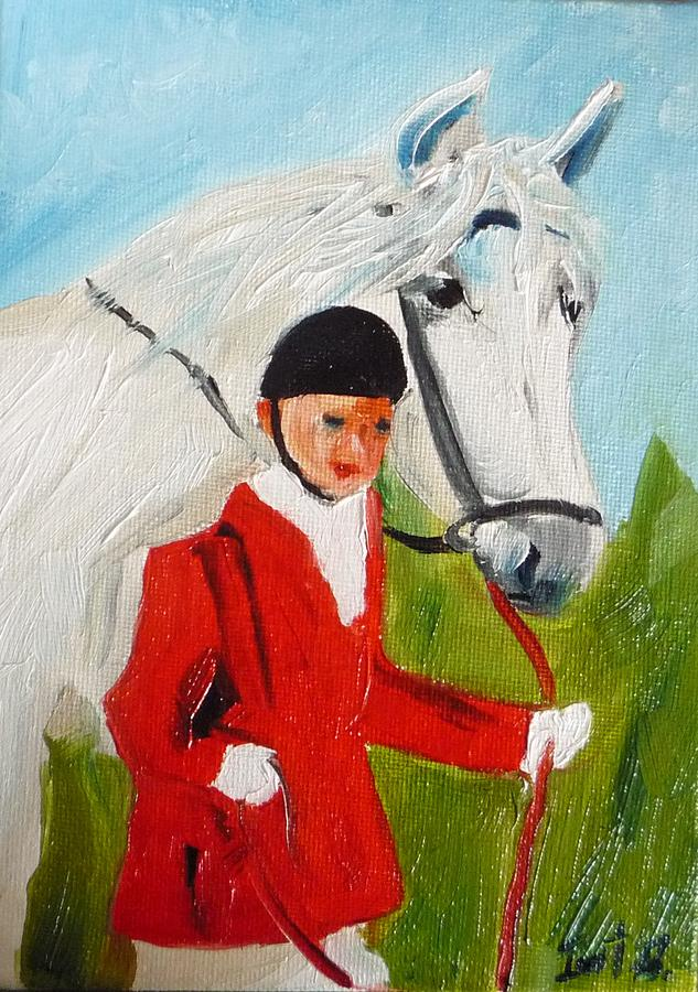Horse Painting - Red Riding Jacket by Irit Bourla